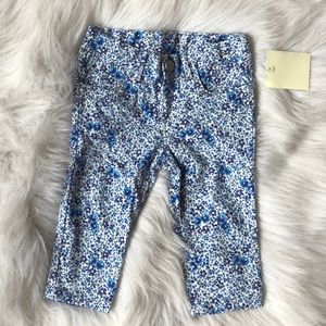 3/$20 Zara Baby | Baby Girl Blue Floral Pants 6-9M